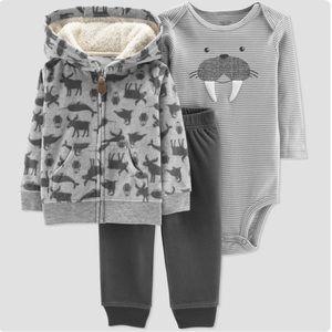 3/$25 Carter's Walrus Fleece Jacket Outfit Set
